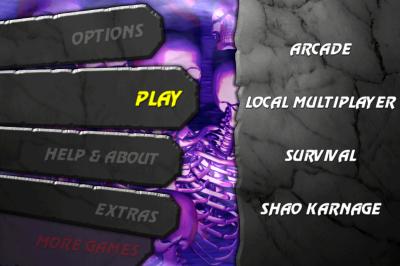 Ultimate Mortal Kombat 3 for iPhone mode select